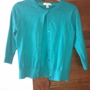 Dressbarn Teal Button Front Cardigan